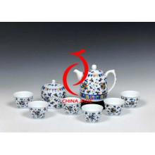 Tradicional orquídea hecho a mano azul y blanco té set
