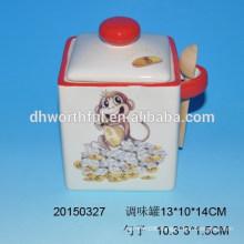 Monkey kitchenware series ceramic seasoning pot with spoon