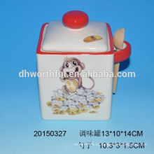 Керамическая приправа для обезьян с ложкой