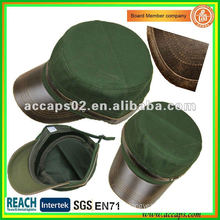 leather brim military style cap MC-1283