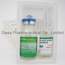 Inibição de sódio antibiótico ceftriaxona para infecção bacteriana
