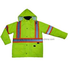 Men′s Hi-Viz Reflective Winter Padded Waterproof Windproof Safety Protective Workwear Jacket