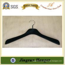 Suministro con experiencia Colgador de plástico negro colgante flocado para el vestido
