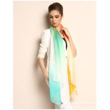 Gradiente impreso digital de seda oblonga impreso bufanda de seda