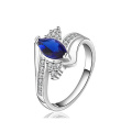 925 Silver Ring Jewelry Sterling Silver Jewellery with Blue Stone