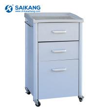 SKS022 3 Drawers Steel Mobile Bedside Cabinets For Hospital