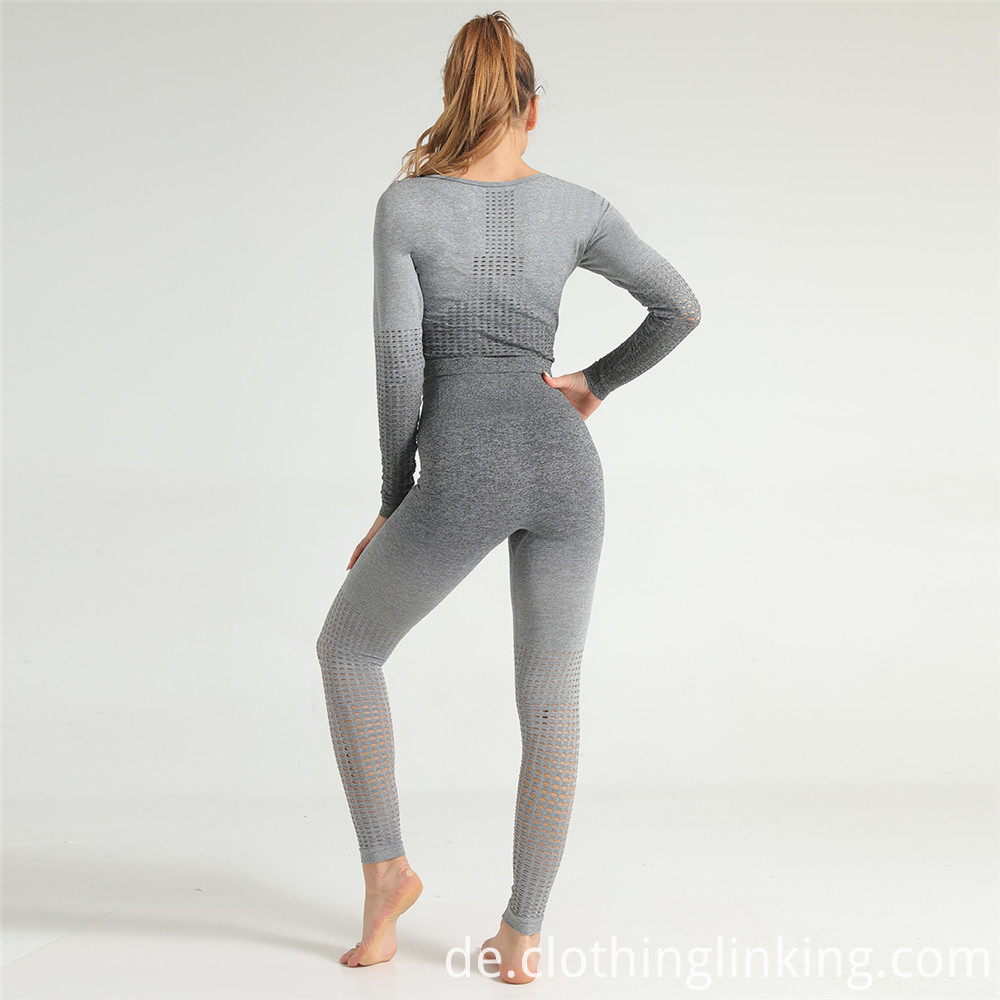long sleeve gradient color yoga clothing