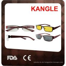 optische Brillenfassungen mit Clip auf