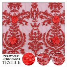 Chine en gros manuel perlé sequin applique mesh tissu de broderie