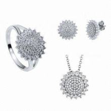 Round Micro Set 925 Silver Jewelry Set Whole Sales