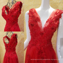 Real Sample Sexy Deep V-Neck A-line Evening Dresses 2016 Latest Flower Applique Beaded Sequin Long Party Gowns Hot Sale ML208