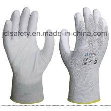 Recubierto de Nylon blanco guante de trabajo con la palma de la PU (JDL003)