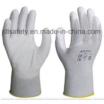 Luva de Nylon branco com Palm PU revestido (JDL003)