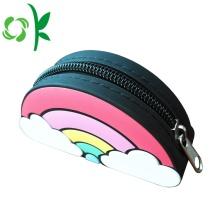 Bolsa em forma de arco-íris de silicone com zíper impermeável