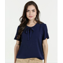 Hot sale Solid Color Bowknot Pullover Chiffon Tops