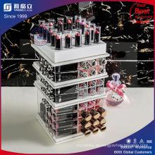 Weißer Acrylc Kosmetischer Lippenstift & Kompaktturm mit Taschen