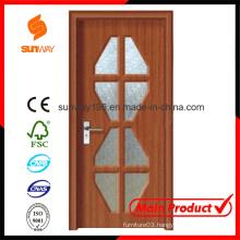 New Design of PVC Wood Door with Windows