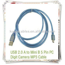 Câble bleu USB 5 broches haute qualité pour MP3 / MP4 avec mini port USB