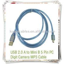 Высококачественный синий 5-контактный USB-кабель для MP3 / MP4 с мини-USB-портом