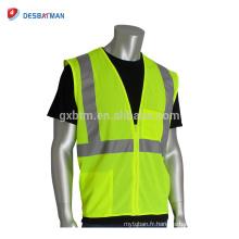 Logo personnalisé imprimé jaune fluorescent sécurité gilet de sécurité Salut Vis maille réfléchissant vêtements de travail avec 2 poches et fermeture à glissière avant
