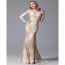 2017 Späteste Entwurfs-lange Hülse V Ansatz-Luxuxsatin Appliqued reizvolles Champagne-Nixe-Hochzeits-Kleid