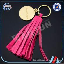 WANJUN custom beautiful red leather tasselkeychain&keyringK-497)