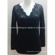 Черный Кружево Рукав V Шеи Сексуальная Леди Мода Рубашки Топ