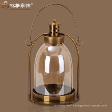 portable hallway glass candle holder lantern with iron handle and stand