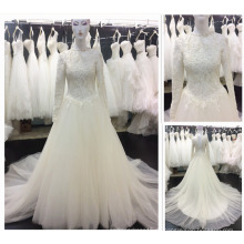 Guangzhou-Fabrik-hohes Ansatz-langes Hülsen-moslemisches Frauen-Kleid Appliqued Spitze-reales Beispiel-muslimisches Hochzeits-Kleid A113
