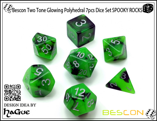 Bescon Two Tone Glowing Polyhedral 7pcs Dice Set SPOOKY ROCKS-2