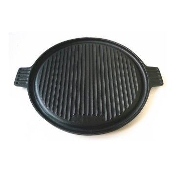 Round Cast Iron Griddle Pan for BBQ/Reversible Double-Sided Grill Plate