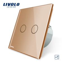 Livolo Стандарт ЕС 2 банды 2-контактный сенсорный настенный выключатель света Электрические выключатели VL-C702S-13