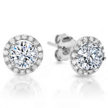 925 Silver Round Halo Stud Earrings Wholesales with AAA CZ