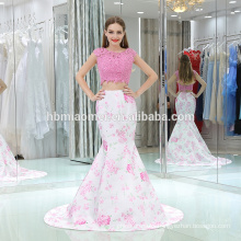 2017 printed skirt with laced top sleevless laced backless pink color two piece evening dress for bridal wedding and party