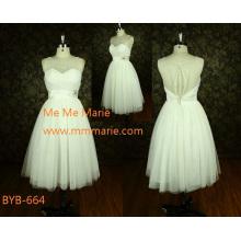 Neueste Elegantes Durchsicht zurück A-line trägerloses China nach Maß A-line kurzes Hochzeitskleid BYB-664