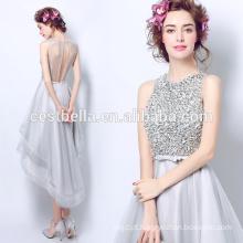 Heavy Beaded Corpete Frente Curto E Voltar Comprimento do joelho Mãe dos vestidos de noiva Prata vestidos de dama de honra