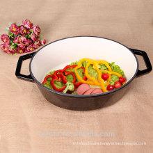Gloss Black Oval Casserole Dish Enameled Cast Iron Cookware