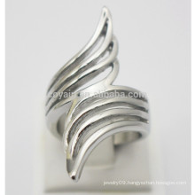 Hollow Wide Women Wedding Bands Jewelry Stainless Steel Angel Wing Finger Ring