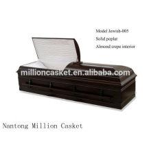 Joia da fábrica judeu-005 personalizado poplar sólidos cremação judeu caixão china