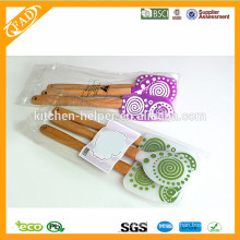 FDA Standard Food grade BPA free Promotional 3 pieces Silicone Spatula Set with Wooden Handle