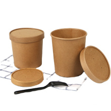 8oz disposable food container brown kraft paper soup bowl with lid microwave noodle paper bowl