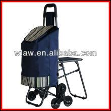 Três rodas carrinho de compras Lavanderia com cadeira