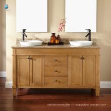 Cabinet de plancher de salle de bains d'hôtel de compteur de marbre de luxe / vanité en chêne de double vasque en céramique