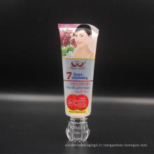 120G en plastique transparent 7 jours blanchissant la crème tube avec Diamant acrylique Cap