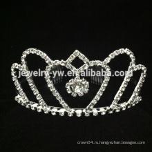 Новый стиль формы сердца Белый Rhinestone Мини Смазливая Корона волосы расчески