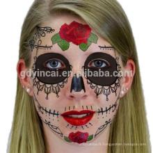 Tatouage imperméable à l'eau de masque facial de 2017 pour Halloween