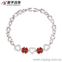 72803 moda elegante em forma de coração cz diamante imitação jóias pulseira para as mulheres