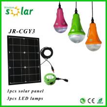 Портативный новых солнечных продуктов CE солнечной освещения солнечного света Крытый Солнечная ночь лампочки светодиодные с зарядным устройством