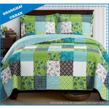 Green Shade Printed Polyester Patchwork Style Tagesdecke Set