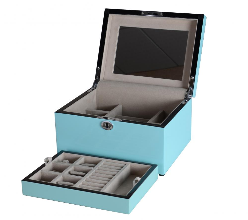 Jb 25 Sky Blue Ladies Two Layers Jewelry Box